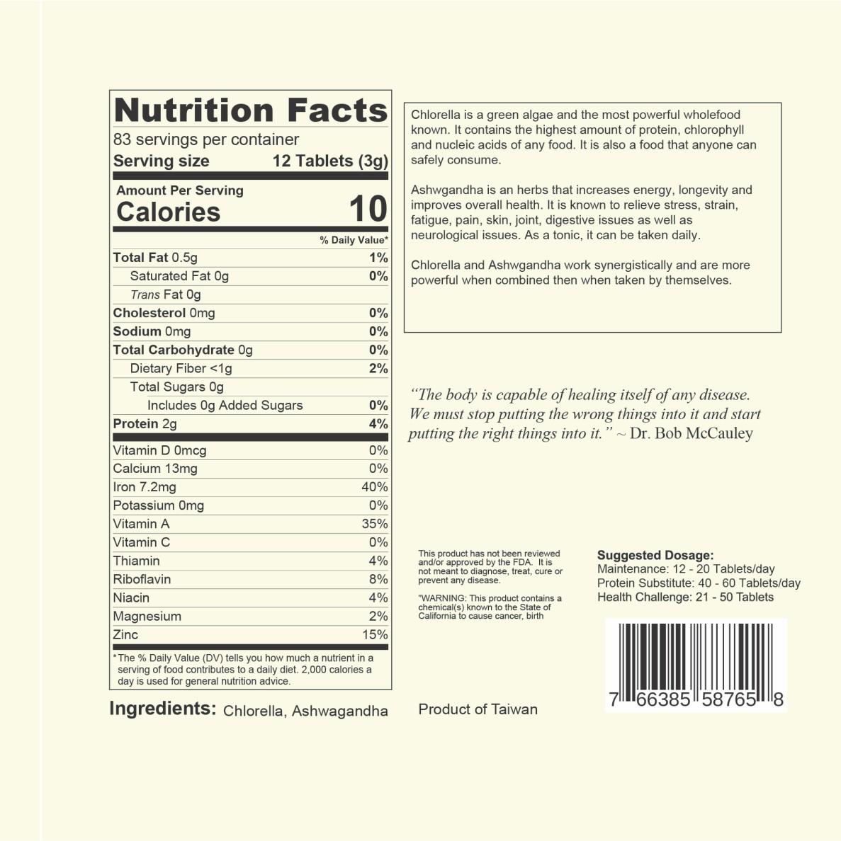 DR. BOB 90% Chlorella 10% Ashwagandha Tablets