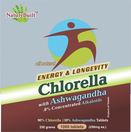NatureBuilt 90% Chlorella 10% Ashwagandha Tablets