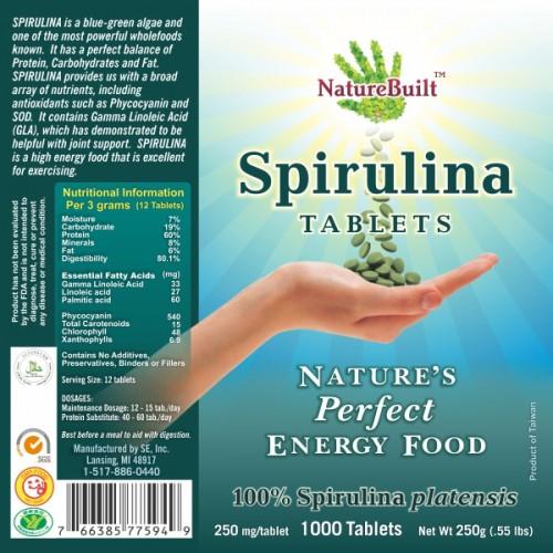 NatureBuilt 100% Spirulina Tablets