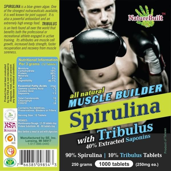 90% Spirulina 10% Tribulus Tablets