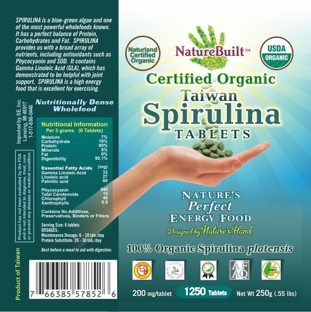 NatureBuilt【Taiwan】USDA Organic Spirulina Tablets